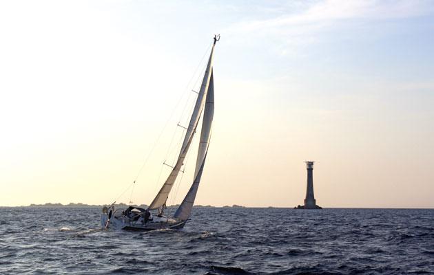 'Big Doris' approaching Bishop's Rock at dawn, 2014
