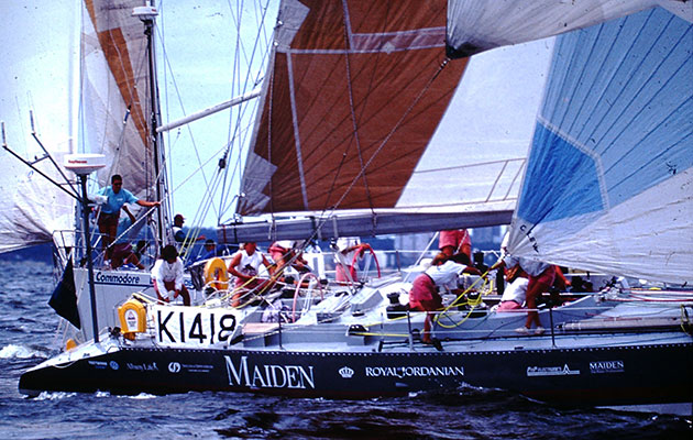 Maxi yacht Maiden, designed by Bruce Farr, taking part in the 1989-90 Whitbread Round the World Race