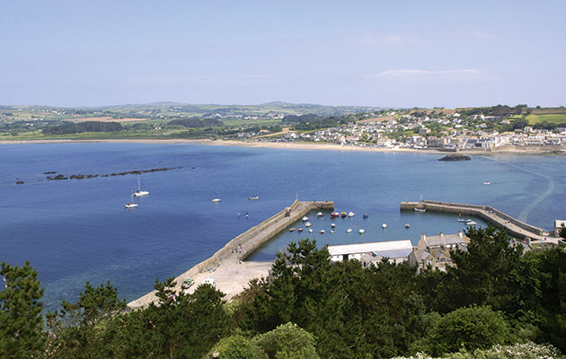 The harbour and anchorage at St Michael's Mount are not always so peaceful