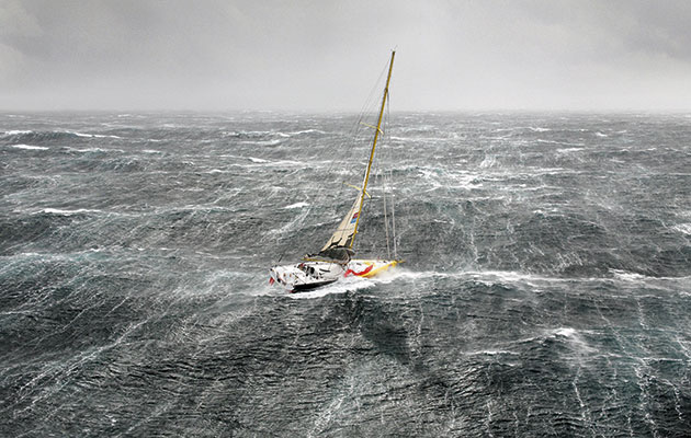 In this picture of Bernard Stamm's Cheminées Poujoulat battling a Force 10 in Biscay at the start of the VELUX 5 Oceans solo round the world race, the wave patches can be clearly seen