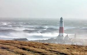 Wind and rough seas at Portland Bill