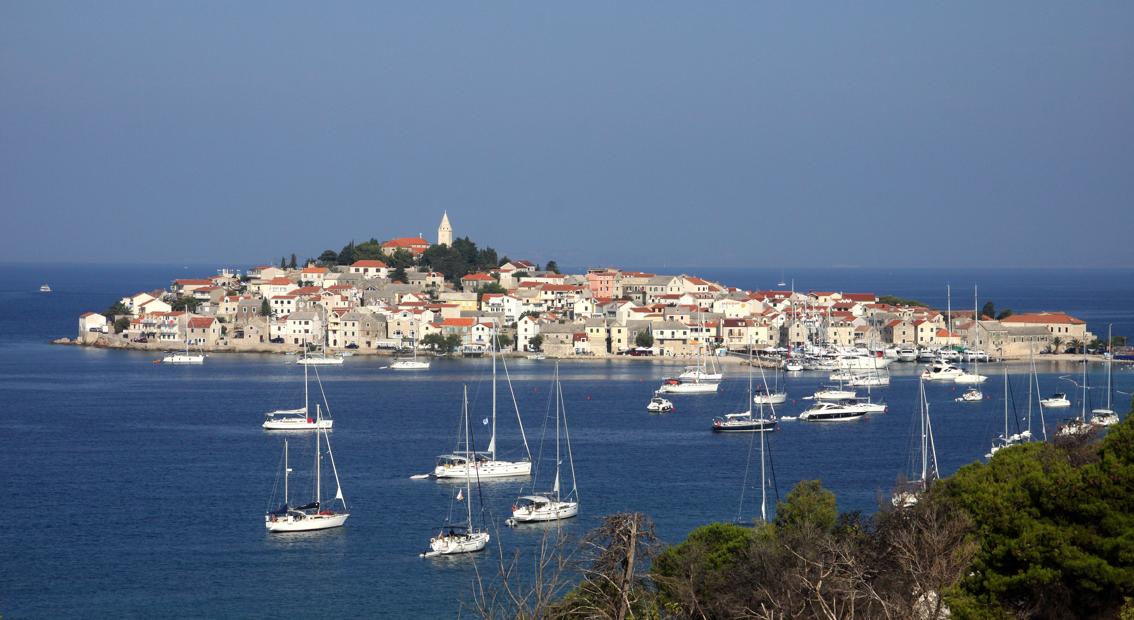 Yachts moored on blue waters in Croatia