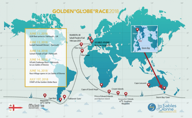 The route of the Golden Globe Race 2018