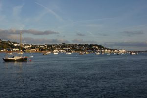 the harbour of Appledore under a blue sky