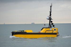 A yellow autonomous ship