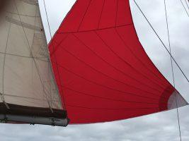 A red mizzen staysail
