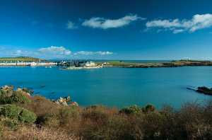 Under a brilliant blue sky, Scotland's Isle of Whithorn