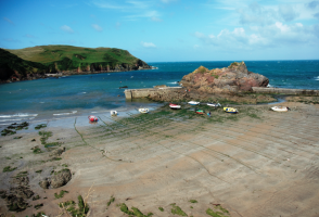 boats at low tide at Hope Cove in South Devon