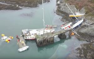 Boats sunk at Holyhead Marina