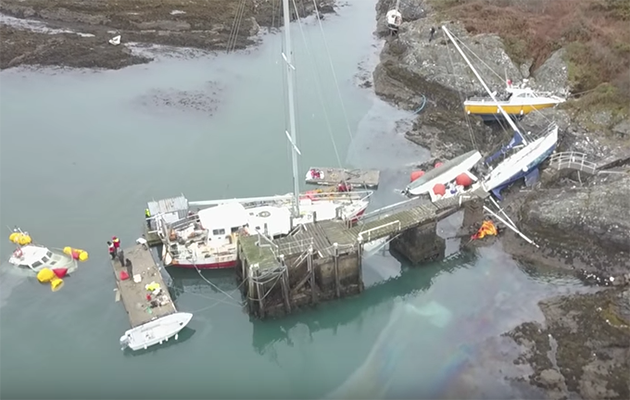 The salvage of the boats is underway. Credit: SV Fornautic