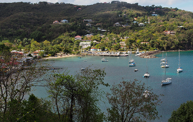 The crescent bay of Deshales in Guadeloupe