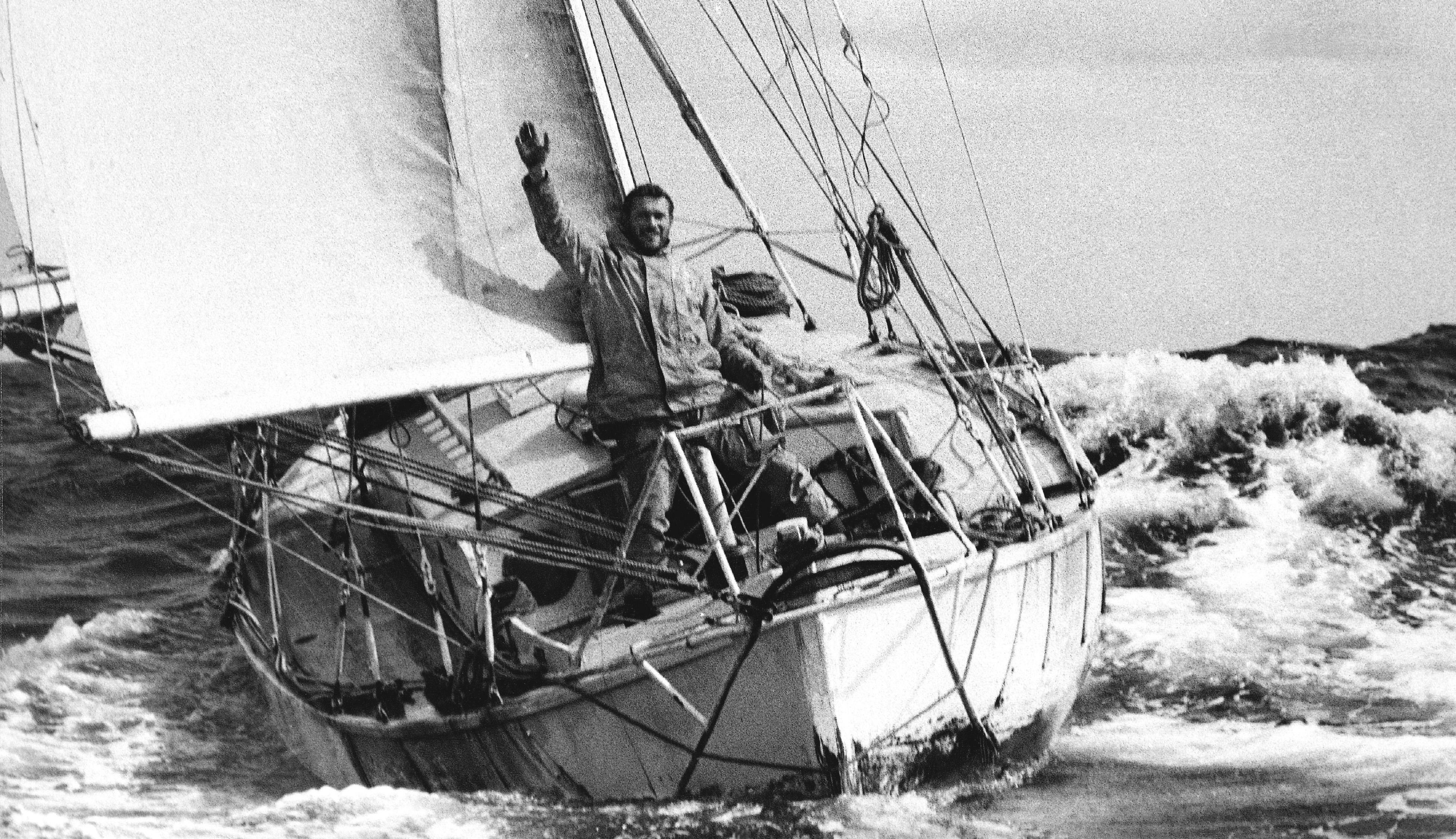 Robin Knox-Johnston sailing Suhaili during the 1968 Golden Globe Race