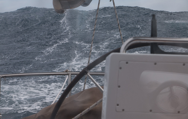 Despite a tumultuous sea, the drogue slowed the boat to the 1-2 knots promised by the designers