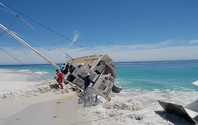 A clipper yacht aground