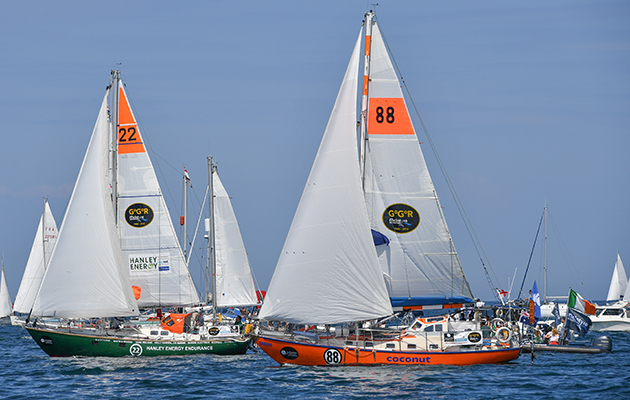Golden Globe Race competitors jostling for position at the start in Les Sable d'Olonne in France