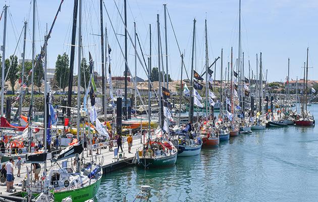 Golden Globe Race yachts moored alongside ahead of the race start