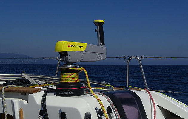 An electric winch handle on a yacht