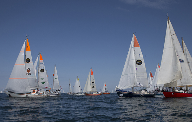 yachts at the start line of the Golden Globe Race
