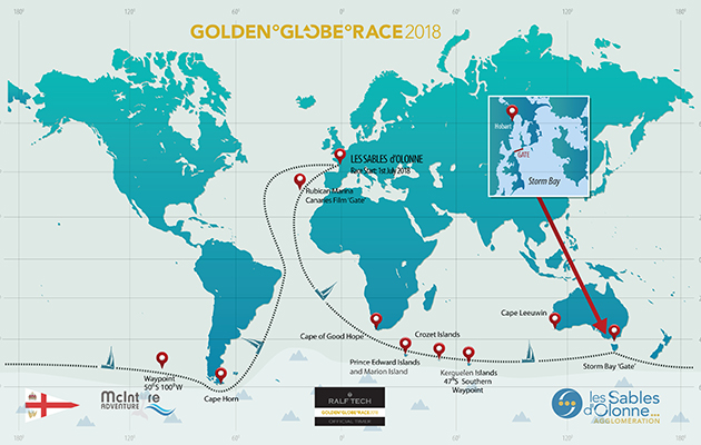 A chart showing the route of the Golden Globe Race 2018