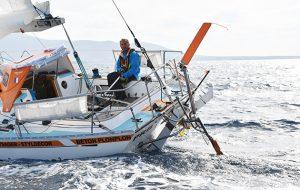 Philippe Peche steering his Rustler 36