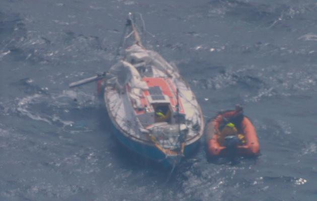A dismasted Golden Globe Race yacht