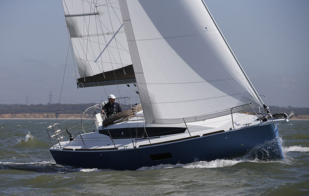 Jeanneau 319 in full sail on the Solent