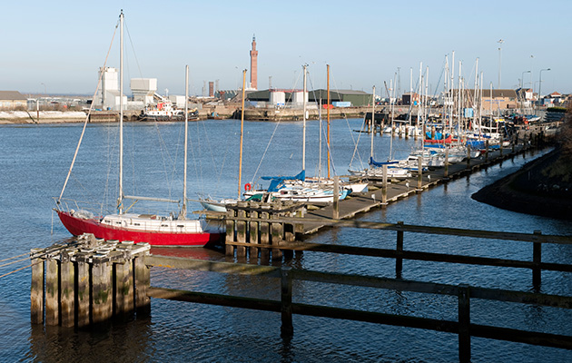Grismby Dock, were these yachts are moored, is 100 miles away, possibly to windward. Credit: Alamy Stock Photo