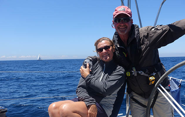 A couple on an Elan 340 after sailing Biscay