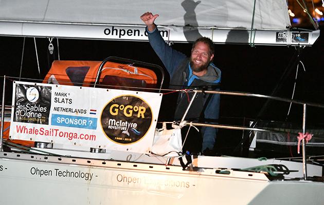 Mark Slats aboard his Rustler 36