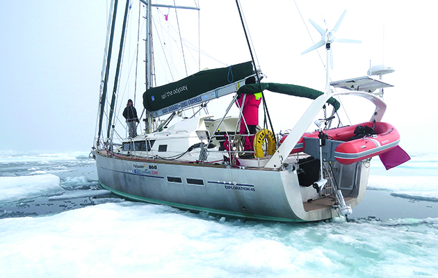 A yacht in the ice