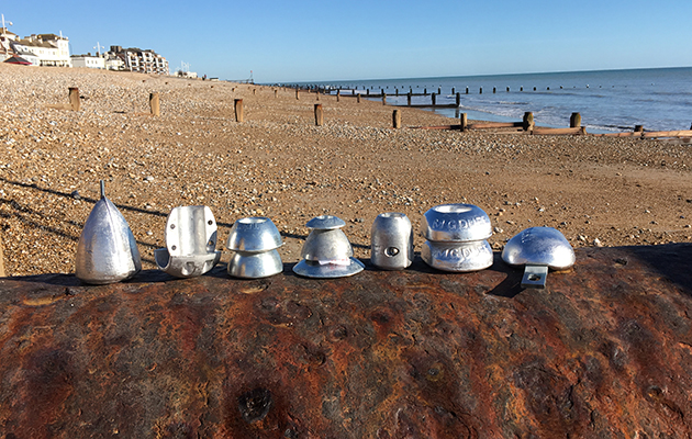 Anodes made out of sluminium lined up in a beach