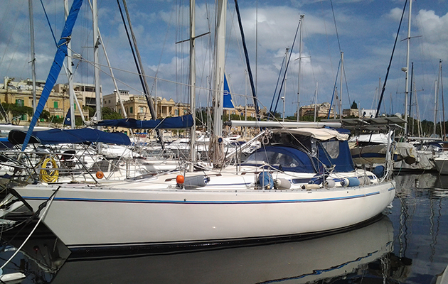 Linga Linga in her home port of Malta, fortunately showing no signs of damage