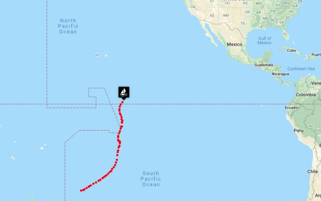 Jeanne Socrates position after crossing the Equator