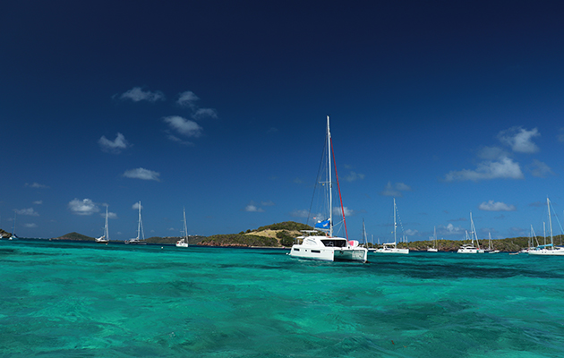 yachts moored at an caribbean anchorage