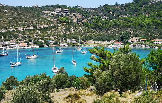 A busy anchorage at Oznor, Greece. Anchoring here requires thought about how much anchor chain you put out