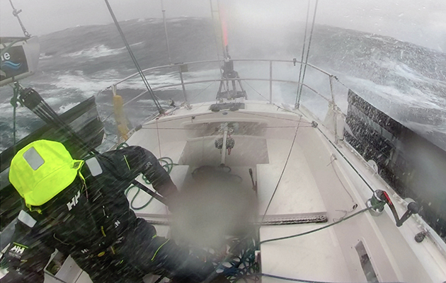 Mark Slats battles the elements in the Southern Ocean from the cockpit of his Rustler 36. Credit: Mark Slats/PPL/GGR
