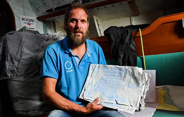 MArk Slats with his chart and log book for the Golden Globe Race