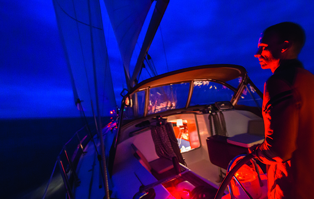 Red light on deck while night sailing