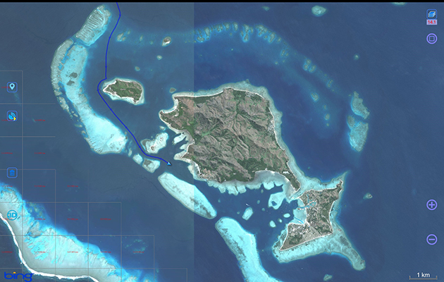 A satellite image of a reef