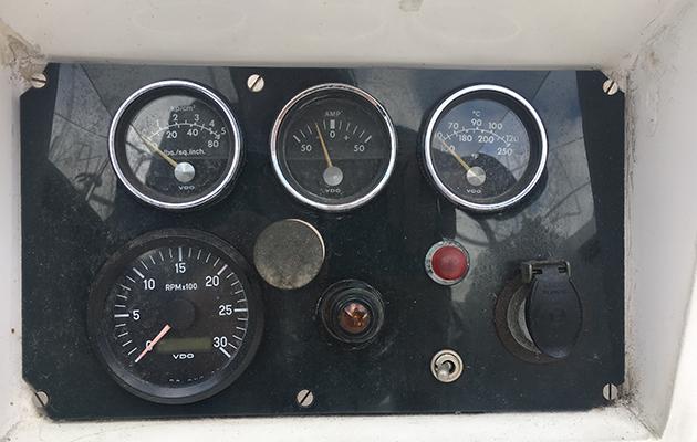 Engine gauges on a yacht