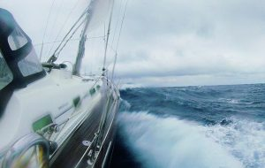 A yacht in boisterous conditions