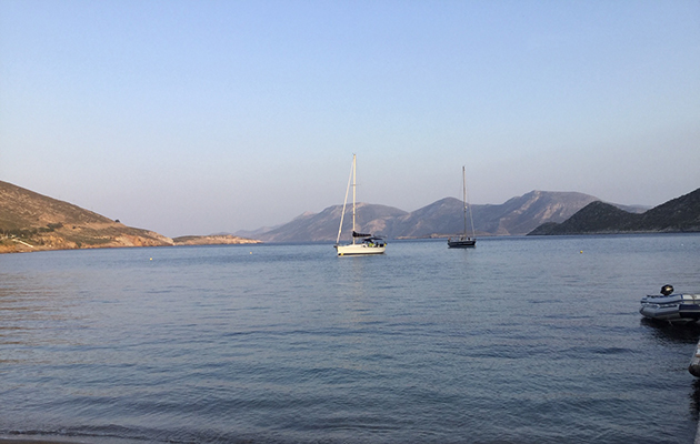 A yacht moored in Leros