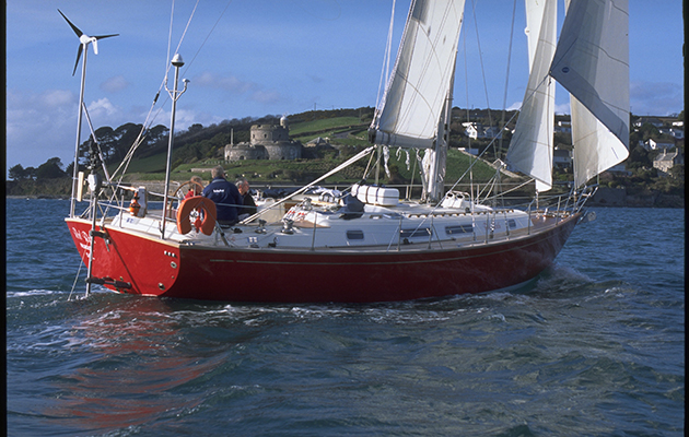 A Rustler yacht being sailed off Falmouth