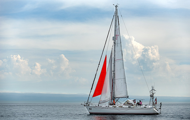 Jeanne Socrates arriving back in Victoria, BC after finishing her record breaking solo non stop circumnavigation around the world
