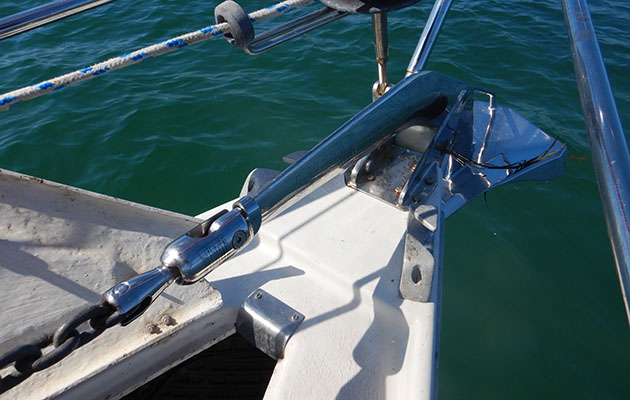 Ultra anchor on a bow of a Sadler 29