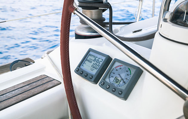 An instrument panel on a yacht
