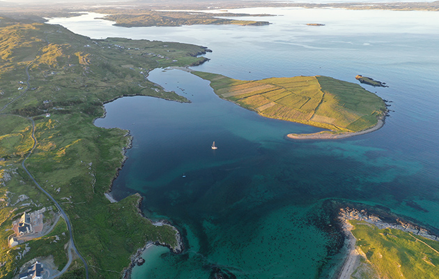 Coire Uisge anchored in Toberdenny Harbour in Ireland