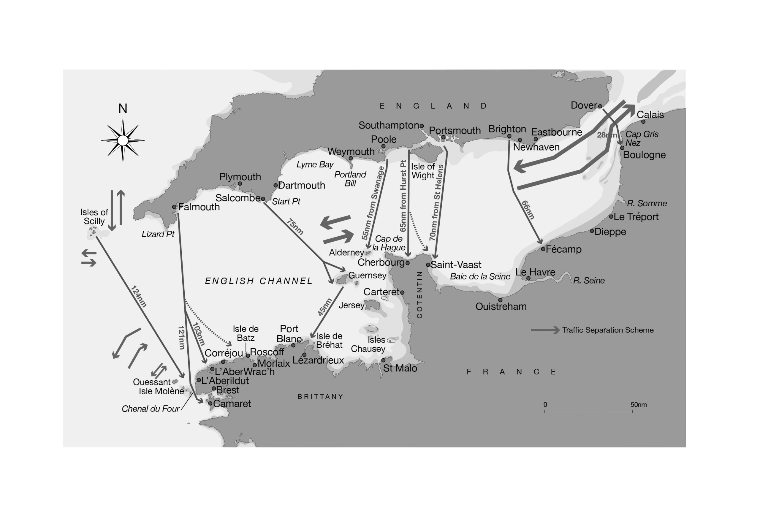 Routes for crossing the English Channel to France