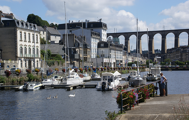 Gated basin at Morlaix is a popular place to moor