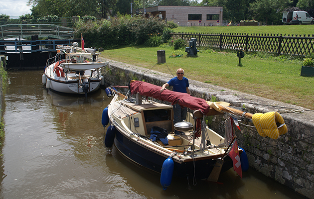a yacht on a Breton canal